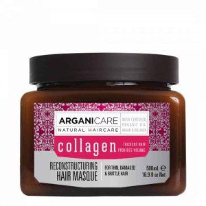 Arganicare Reconstructuring hair masque -Atstatanti plaukų kaukė su kolagenu ploniems ir pažeistiems plaukams