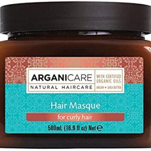 Arganicare Hair masque for curly hair-atstatanti plaukų kaukė garbanotiems plaukams su argano aliejumi ir šilko baltymais
