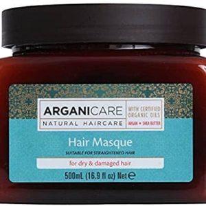 Arganicare Hair masque for dry & damaged hair-atstatanti plaukų kaukė sausiems ir pažeistiems plaukams su argano aliejumi ir šilko baltymais