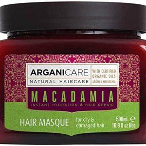 Arganicare Macadamia hair masque - Plaukų struktūrą atstatanti ir plaukus maitinanti kaukė su makadamijos ir argano aliejais