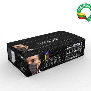 Vienkartinės juodos spalvos 3-jų sluoksnių veido kaukės
