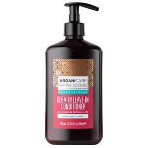 Arganicare Keratin oil leave – in conditioner - Nenuplaunamas plaukų kondicionierius su keratinu garbanotiems plaukams